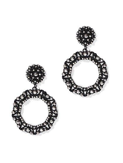 Pave Circular Drop Earring - New York & Company