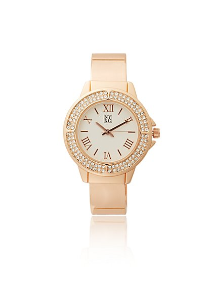 Pave Cuff Bracelet Watch - New York & Company