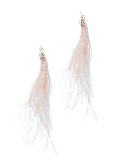 Pave Feather Drop Earring - New York & Company