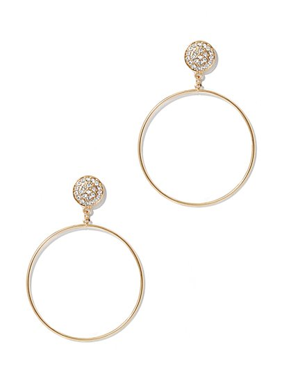 Pave Hoop Drop Earring - New York & Company