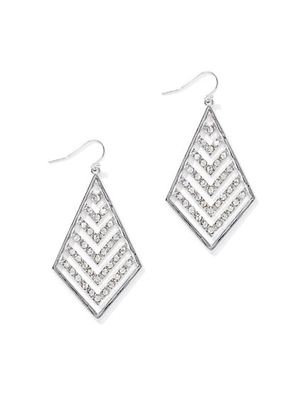 Pave Kite-Shaped Drop Earring  - New York & Company
