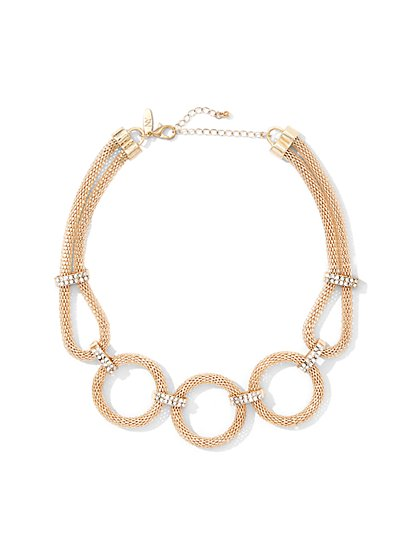Pave & Mesh Circle Collar Necklace - New York & Company