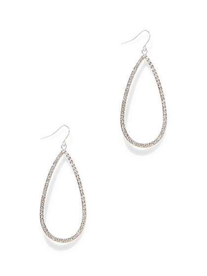 Pave Open Teardrop Earring - New York & Company