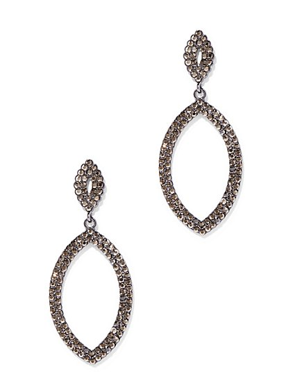 Pave Oval Drop Earring  - New York & Company