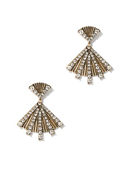 Pave Pyramid Drop Earring  - New York & Company