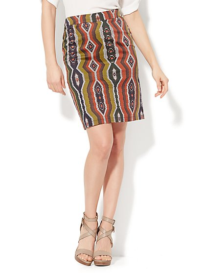 Pencil Skirt - Multicolor Dot Print - New York & Company