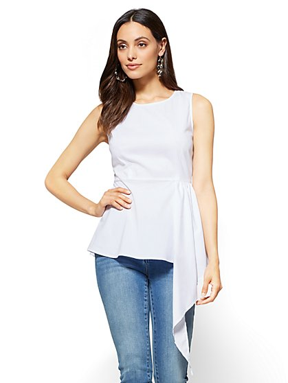 Peplum-Hem Poplin Shirt - White - New York & Company