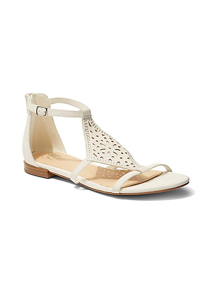 Perforated Ankle-Strap Sandal - White  - New York & Company