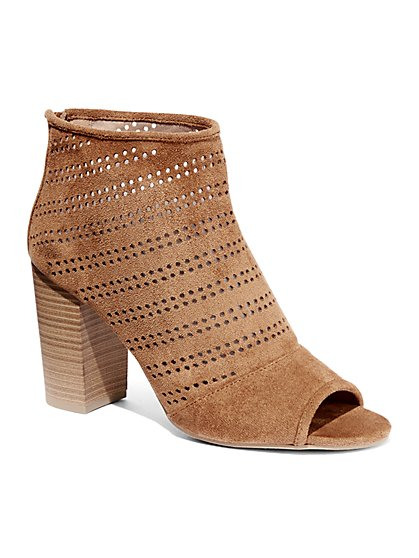 Perforated Open-Toe Bootie  - New York & Company