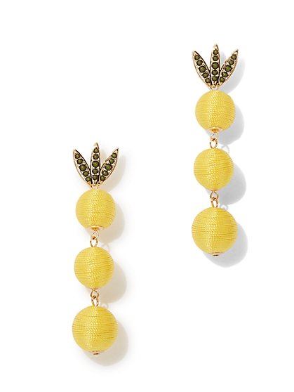 Pineapple Beaded Drop Earring  - New York & Company