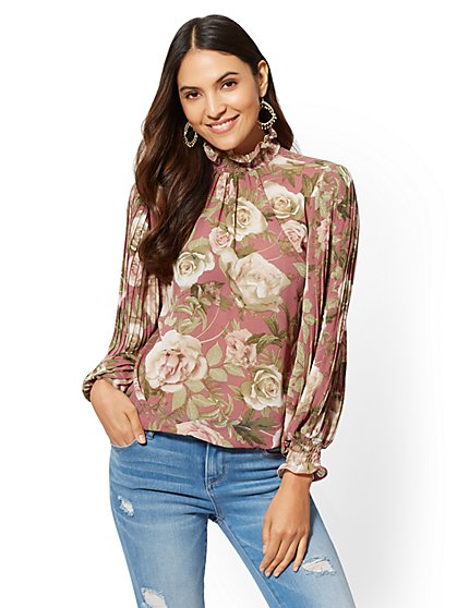 Pink Floral Mock-Neck Blouse - New York & Company