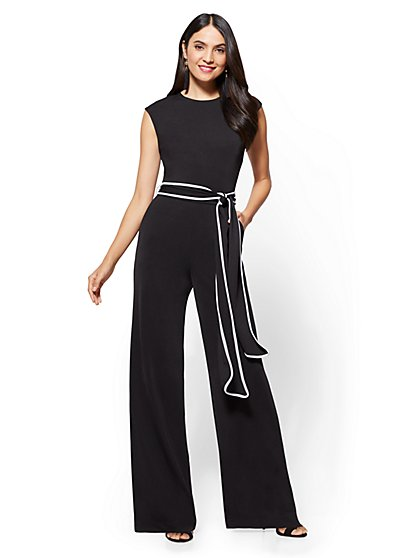 Piped Belted Jumpsuit - Petite - New York & Company
