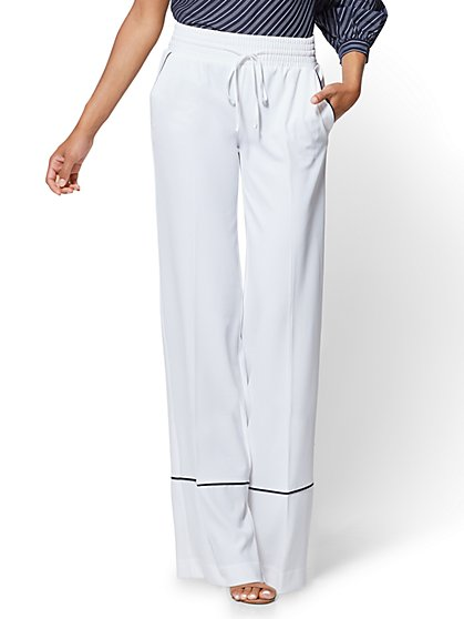Piped Drawstring Palazzo Pant - White - New York & Company