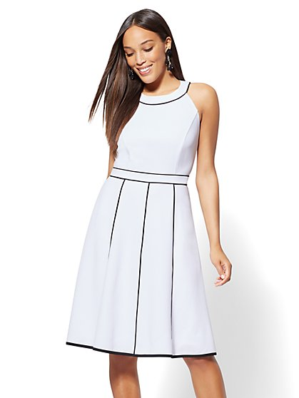 Piped Halter Fit & Flare Dress - New York & Company