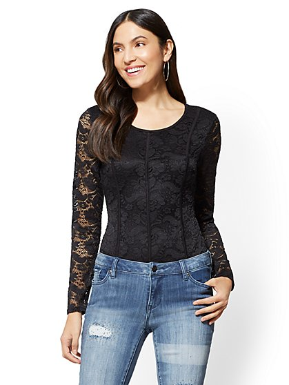 Piped Lace Bodysuit - New York & Company