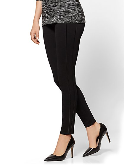 Piped Ponte Legging - Black - New York & Company