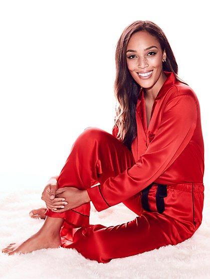 Piped Satin Pajama Set - New York & Company
