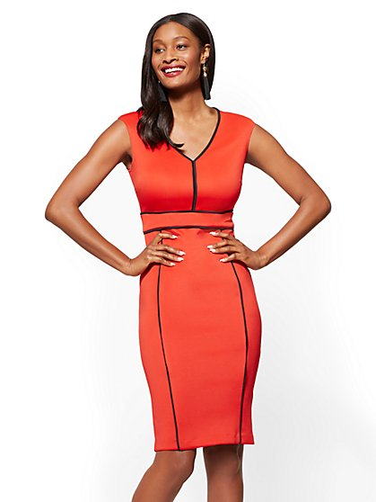 Piped V-Neck Sheath Dress - Petite - New York & Company