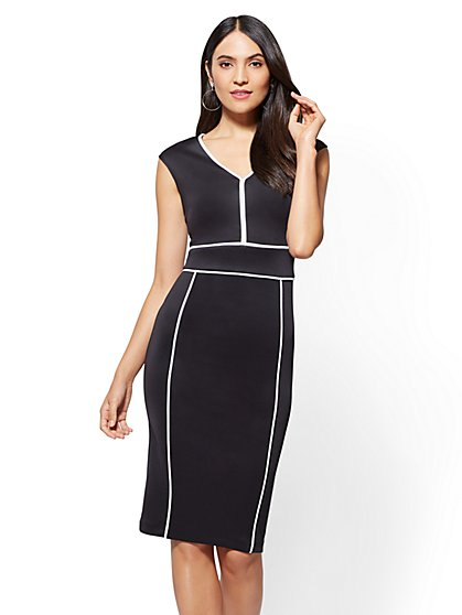 Piped V-Neck Sheath Dress - New York & Company