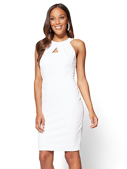 Pleated-Accent Sheath Dress - New York & Company