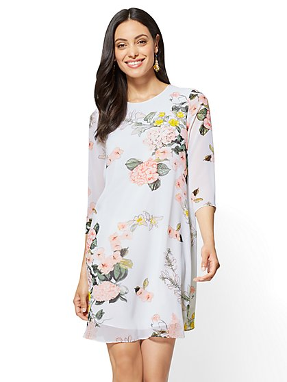 Pleated-Back Shift Dress - Floral - New York & Company