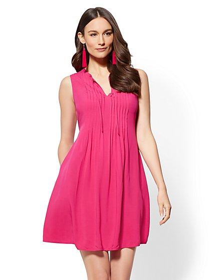 Pleated Cotton Shift Dress - New York & Company
