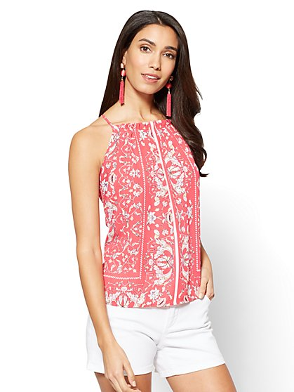 Pleated-Front Halter Blouse - New York & Company