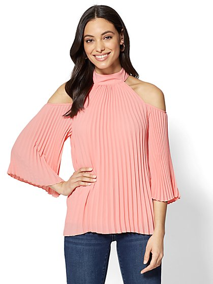 Pleated Halter Cold-Shoulder Blouse - New York & Company