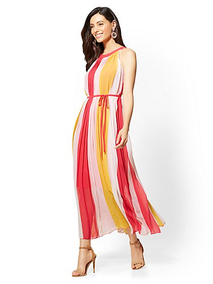 Pleated Halter Maxi Dress - New York & Company