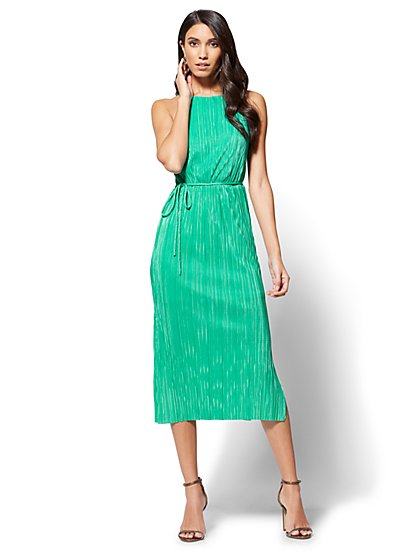 Pleated Midi Halter Dress - New York & Company