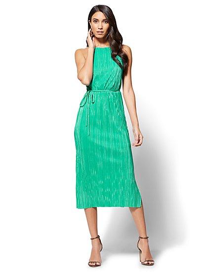 Pleated Midi Halter Dress - New York & Company