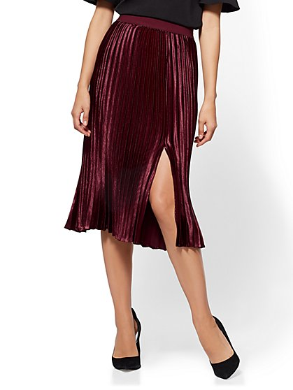 Pleated Midi Skirt - Classic Sangria - New York & Company