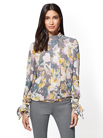 Pleated Mock-Neck Blouse - Floral - New York & Company