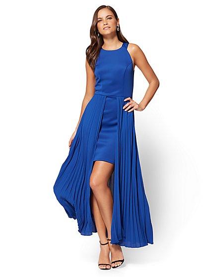 Pleated Overlay Halter Dress - New York & Company
