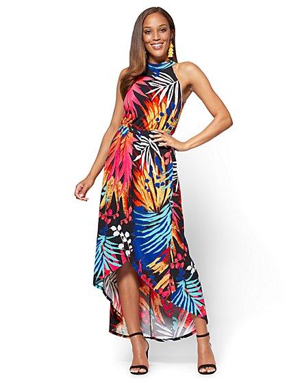 Pleated Overlay Halter Maxi Dress - Palm Print - New York & Company