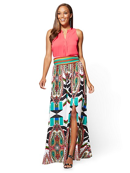 Pleated Overlay Maxi Skirt - Paper - Print - New York & Company