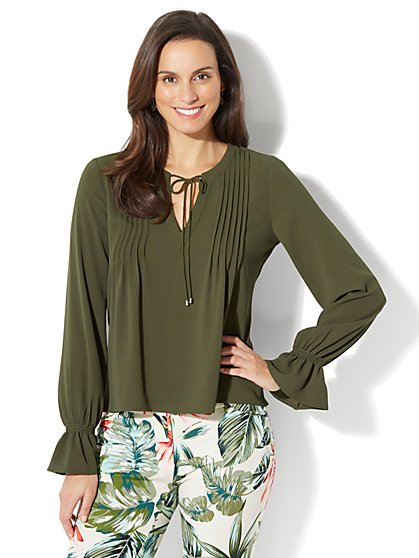 Pleated Peasant Blouse - Olive - Petite - New York & Company