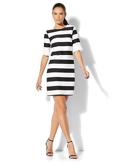 Pleated-Sleeve Sheath Dress - Black & White Stripe - New York & Company