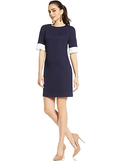 Pleated-Sleeve Sheath Dress - Navy - New York & Company