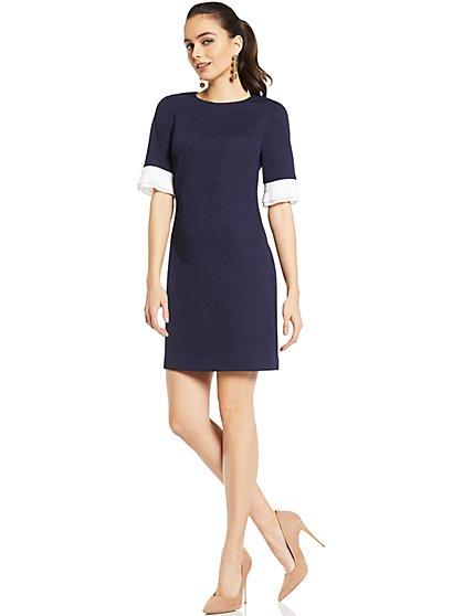 Pleated-Sleeve Sheath Dress - Navy - New York & Company