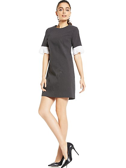 Pleated-Sleeve Sheath Dress - Pindot Print - New York & Company