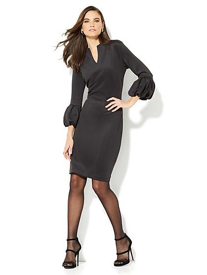 Pleated-Sleeve Sheath Dress - New York & Company