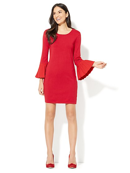 Pleated-Sleeve Sweater Dress - New York & Company