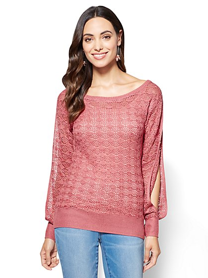 Pointelle-Knit Scoopneck Sweater  - New York & Company