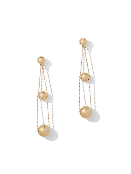 Polished Beaded Drop Earring - New York & Company