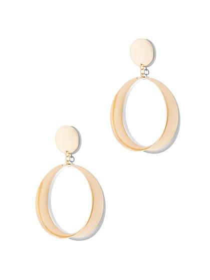 Polished Hoop Drop Earring  - New York & Company
