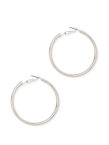 Polished Rose Goldtone Hoop Earring  - New York & Company