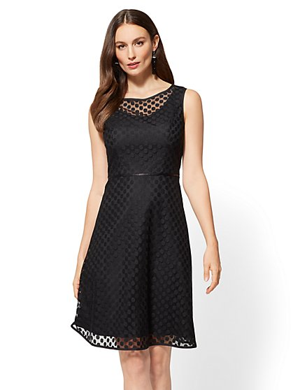 Polka-Dot Lace Overlay Flare Dress - New York & Company