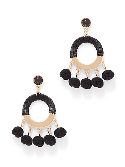 Pom Pom Hoop Drop Earring - New York & Company