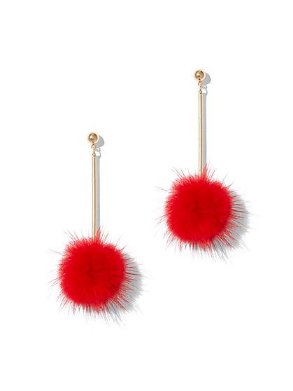 Pom-Pom Linear Drop Earring - New York & Company